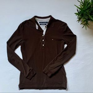 Tommy Hilfiger Long Sleeve Polo Brown Small